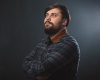 Guy in a plaid shirt Stock Photo