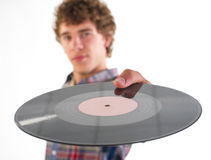 Guy and plate vinyl Royalty Free Stock Photo