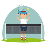 Guy player tennis court racket Royalty Free Stock Image