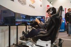 Guy playing at Games Week 2014 in Milan, Italy Royalty Free Stock Photos