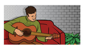 Guy playing guitar Royalty Free Stock Photography