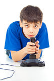 Guy plays video games Royalty Free Stock Photography