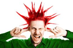 The guy plugged ears royalty free stock photos