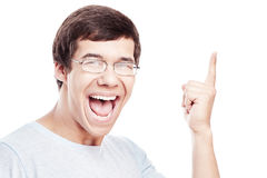Guy pointing aside Royalty Free Stock Photography
