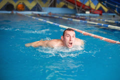Guy in pool Royalty Free Stock Photography