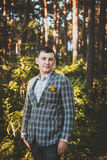 Guy poses in forest Stock Photo