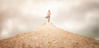 Guy practices asanas on yoga in harmony with nature Stock Images