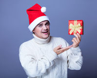 Guy with present Royalty Free Stock Image