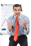 Guy with presentation happy and showing success with hands. Stock Photos