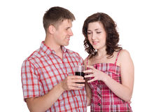 Guy proposes to his girlfriend drink Stock Photography