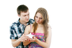 Guy pulls out a star for a girl Royalty Free Stock Photo