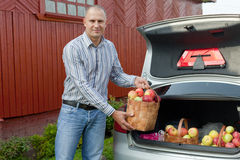 Guy puts apples in the trunk of car Stock Photo