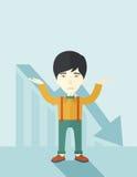 Guy raising his arms with arrow down graph Stock Photos