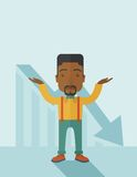 Guy raising his arms with arrow down graph. A sad black guy raising his two arms surrendering causing of his failed business. Graph arrow down, shares fall Stock Photo