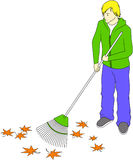 Guy raking leaves Royalty Free Stock Images