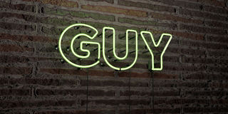 GUY -Realistic Neon Sign on Brick Wall background - 3D rendered royalty free stock image Royalty Free Stock Photography