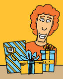 Guy receiving gifts Royalty Free Stock Photo