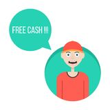 Guy in red baseball cap with free cash green Royalty Free Stock Images