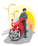 Guy on a red bike Royalty Free Stock Photography