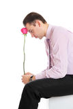 Guy with a red rose Royalty Free Stock Photography