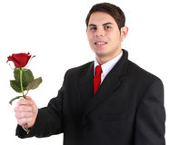 Guy with red rose Royalty Free Stock Image