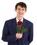 Guy with a red rose Stock Photo