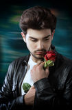 Guy with a red rose Royalty Free Stock Photos