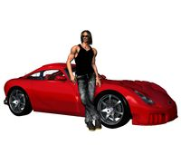 Guy with Red Sportscar Stock Photo