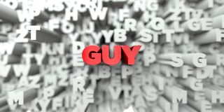 GUY -  Red text on typography background - 3D rendered royalty free stock image Stock Image