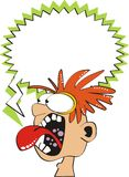 Guy redhead screaming. Guy red-haired giving a shout crazy, sticking out her tongue Stock Illustration