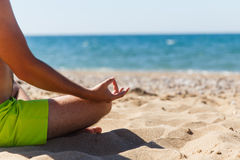 Guy relaxes on picturesque seaside Stock Image