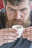 Guy relaxing with espresso coffee. Coffee break concept. Hipster drinking coffee close up. Caffeine recharge. Man with royalty free stock photography