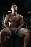 Guy Resting In Healthy Club Gym Stock Photography