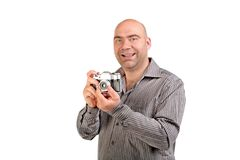 Guy with retro photo camera Stock Photos