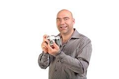 Guy with retro photo camera Stock Photos