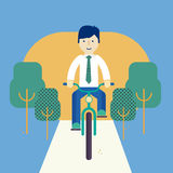 Guy riding a bike Stock Images