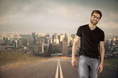 Guy on road Royalty Free Stock Photo