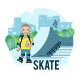 The guy on roller skates in the park Stock Photography