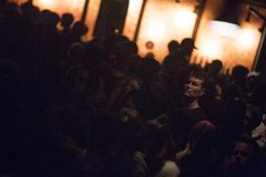 Guy`s face. During a show in Montreal stock photography