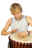 Guy's playing tomtom. On white background Stock Photo
