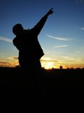 Guy's silhouette against the night sky. Stock Photography