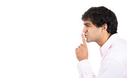 Guy saying shhh Royalty Free Stock Photo