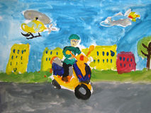 Guy on a scooter - painted by child Royalty Free Stock Images