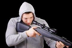 Guy with scoped gun Royalty Free Stock Photos