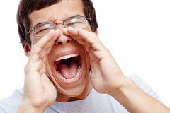 Guy screaming out loud Royalty Free Stock Images