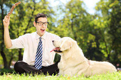 Guy seated on a grass playing with labrador retriver dog in a pa Royalty Free Stock Photography