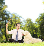 Guy seated on a green grass playing with dog in a park Royalty Free Stock Photo