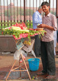 Guy sells vegetables nearly Red Fort in Delhi Stock Photo