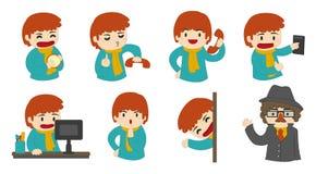 Guy Set feliz Ilustração Stock