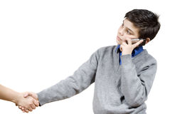 The guy shakes hand with Stock Image
